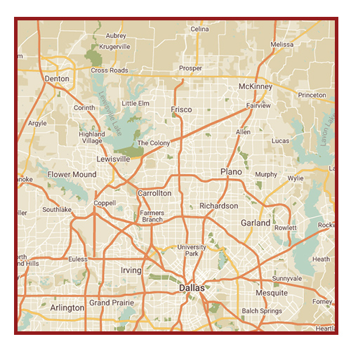 Map of the Dallas-Fort Worth area