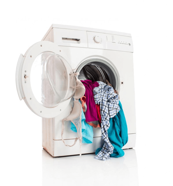 Washing machine with a pile of clothes falling out the front